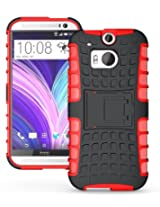 JKase DIABLO Tough Rugged Dual Layer Protection Case Cover with Build in Stand for HTC M8 / HTC One 2 - Red