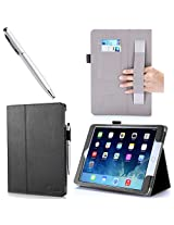 Apple iPad Air 2 Case - i-Blason Slim Leathe Book Stand Cover Case for Apple iPad Air 2 (iPad 6) 9.7 Inch iOS 8 Tablet, BLACK (with Smart Cover Auto Sleep / wake, Hand Strap, ID Holder, Bonus Stylus Pen) - Black
