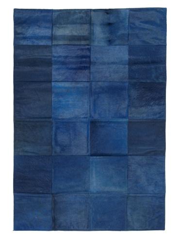 Hide Rug Blue Patchwork, 4' x 6'