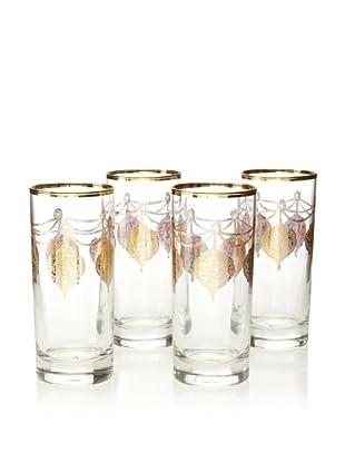 A Casa K Set of 4 Marrekesh Décor 8.5-Oz. Crystal Hi-Ball Glasses, Clear/Gold