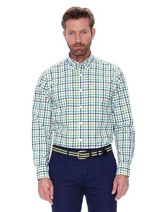 Cortefiel Camisa Cuadro Bicolor (Verde Oscuro)