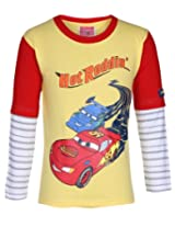 Disney Full Sleeves Yellow T-Shirt - Hot Roddin Print