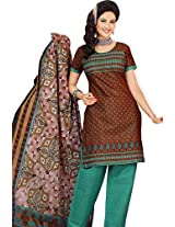atisundar exquisite Brown Traditional Cotton Printed Salwar Suit- 4335_39_5046