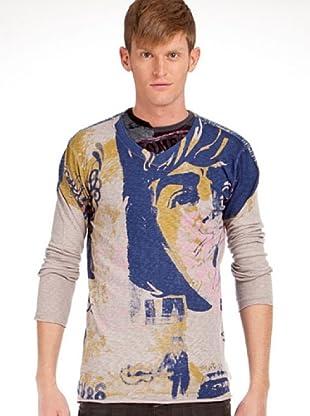 Custo Camiseta (Gris / Azul)