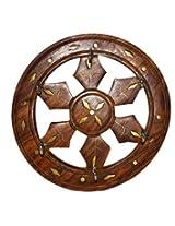 Pindia Brass Inlaid Wooden Small Chakri Wall Key Hanger