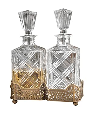 Dessau Home Gallery Holder with 2 Crystal Decanters (Antiqued Brass)
