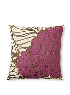 Trina Turk Embroidered Jungle Bloom Pillow (Gray/Purple)