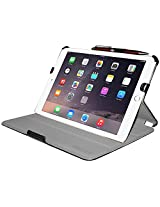 Amzer Leather Texture Portfolio Multi Angle Folio Stand Case Cover for Apple iPad Air 2, Black (AMZ97450)