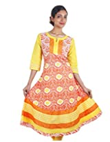 Sun Orange eSTYLe Wide Flare Anarkali Kurta Fromn eSTYLe