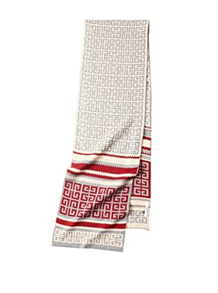 Givenchy Unisex Knit Logo Scarf, Red/Tan