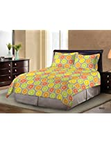 Bombay Dyeing Ambrosia 130 TC Cotton Double Bedsheet with 2 Pillow Covers - Limon