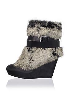 Ash Women's Hannah Rabbit Fur Wedge Boot (Black)