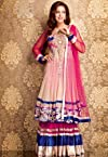 Magenta and Blue Net Lehenga Choli with Dupatta