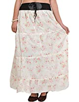 Exotic India Long Skirt with Printed Roses and Elastic Waist - Color Bright WhiteGarment Size Free Size