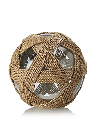 Seaside Lampakanai-Wrapped Glass Ball, Natural/Clear, Large