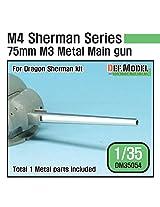 Def Model 1:35 Us M4 Sherman 75mm M3 Metal Barrel Set For Dragon Kit #Dm35054