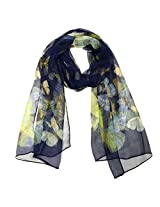Wrapables Lightweight 100% Silk Butterfly Print Long Scarf, Dark Blue