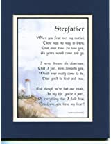 Gift For A Stepfather. Touching 8x10 Poem Double-matted in Navy/ White and Enhanced with Watercolor Graphics.