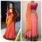 Kareena Kapoor Georgette Peach Embroidered Bollywood Style Lehenga