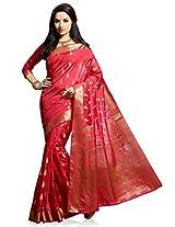 Meghdoot Artificial Silk Saree (VIVAAH_MT1244_CHERRY Woven Pink Colour Sari)