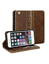 iPhone 6s Case, GMYLE Book Case Vintage for iPhone 6S - Brown PU Leather Stand Case Cover