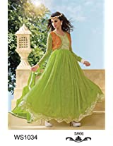 Suchi Fashion Light Green Net Brasso Self Print Semi Stitched Party Wear Anarkali Suit With Jacket