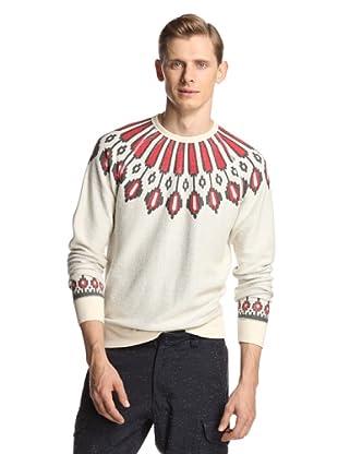 Burkman Bros Men's Nordic Printed Fleece (Natural/Oange)