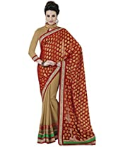 Indian Women Beautiful Viscose Red Saree with Blouse