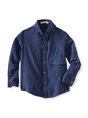 Blu Pony Vintage Boy's Classic Button Up with Raw Edge Collar (Indigo)