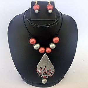 Anikalan Designs Silver Gray Duedrops Pendant Terracotta Necklace Set