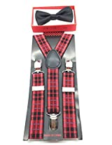 New 2014 Fashion Style Boys Girls Child Black Bow Tie Red Checker Suspender Y Clips