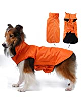 Imported Waterproof Pet Dog Waistcoat Jacket Fleece Lined Raincoat Clothes XL Orange