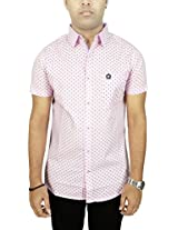 AA' Southbay Men's Baby Pink Geometry Print 100% Cotton Half Sleeve Casual Shirt