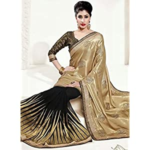 Nairiti Golden & Black Colour Georgette Fabric Replica Saree