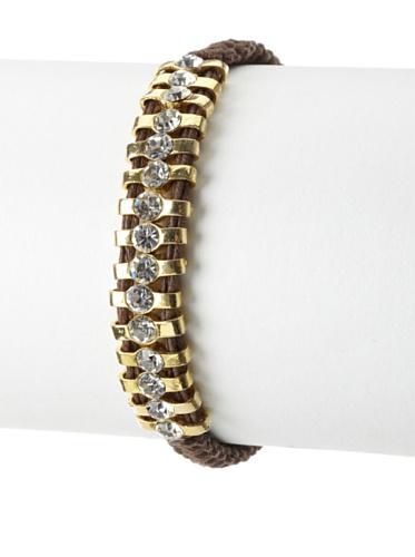 Shashi One Row Original Adjustable Bracelet, Yellow Gold/Brown