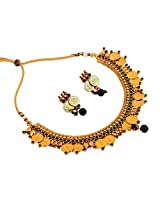 Megh Craft Women One Gram Gold Plated Dance Temple Jewellery Stone Necklace Set