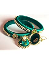 "Silk Thread Bangles (Set of 2) with Jhumka Earrings - Green (2.4"")"