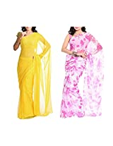 MemSahiba Women Semi-Chiffon Saree set of 2 (MS-1048-1091)