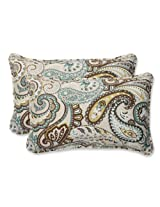 Pillow Perfect Outdoor Tamara Paisley Quartz Rectangular Throw Pillow, Set of 2