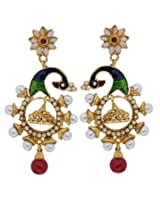 Hyderabadi Abhushan peacock shaped earrings with white pearls