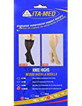 ITA-MED Open Toe Knee Highs - Compression (25-35 mmHg): H-304 Large Beige
