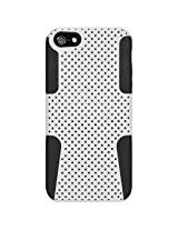 Amzer 95032 Silicone-Perforated PolyCarbonate Hybrid Case - Black/ White for iPhone 5