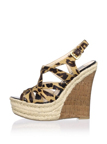 Boutique 9 Women's Flower Strappy Wedge (Natural Multi)