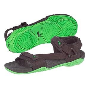 Puma Men's Black and Green Sandals