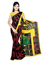 Sonal Trendz Red & Yellow Color Printed Georgette Saree with Blouse