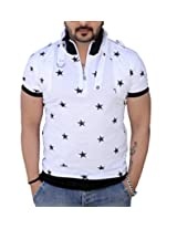 Black Collection Men's Half-Zip Cotton T-Shirt (BCSA0001_White & Black_Medium)