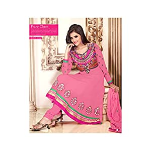 Georgette Embroidery Work Pink Semi Stitched Anarkali Suit - 8002