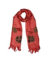 Banna Red Tussar Silk Stole Dupatta With Floral Kalamkari Patch Work - Red