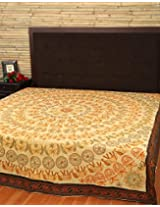 Indian Silver Floral Cotton Embroidered Bedspread By Rajrang