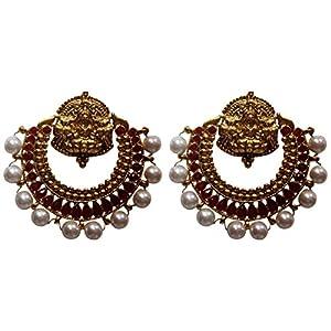 New Ramleela Earrings in Maroon with Pearls